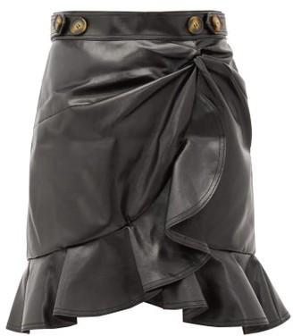 Self-Portrait Ruffled Faux-leather Skirt - Womens - Black