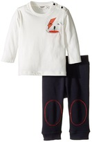 Junior Gaultier Set with White Tee Shirt with Bear and Blue Sweatpants Boy's Active Sets