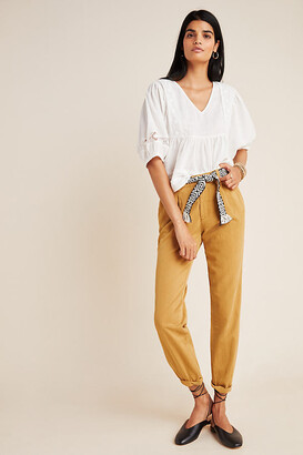 Anthropologie Scout Slim Pleated Pants By in Yellow Size 25