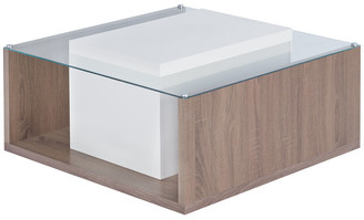 Furniture of America Larsa Square Glass Top Coffee Table