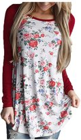 AuntTaylor Womens Vintage Floral Print T Shirt Dress Tunic Shirts Red M