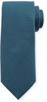 Canali Micro-Pattern Silk Tie, Aqua