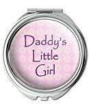 Daddy's Little Girl Pink with Flowers Compact Purse Mirror