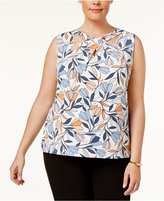 Nine West Plus Size Printed Cutout Top