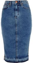 River Island Womens Mid blue acid wash denim pencil skirt