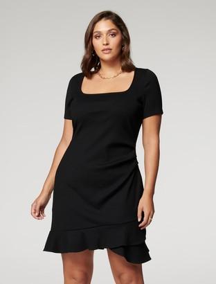 Forever New Khloe Curve Frill-Hem Mini Dress - Black - 16