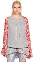 Amen Floral Silk Chiffon & Cotton Sweatshirt