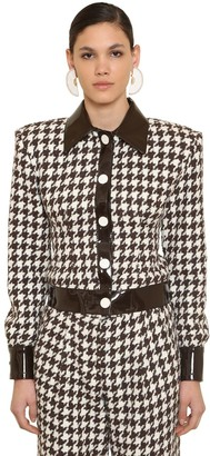 ROWEN ROSE Exclusive Wool Houndstooth Tweed Jacket