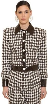Rowen Rose Exclusive Wool Houndstooth Tweed Jacket