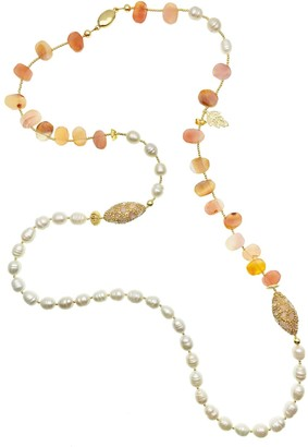 Farra Red Agate With Freshwater Pearls & Rhinestones Multi-Way Necklace
