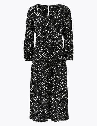 Marks and Spencer Polka Dot Frill Detail Midi Waisted Dress