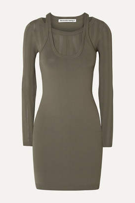 Alexander Wang Layered Stretch-knit Mini Dress - Army green