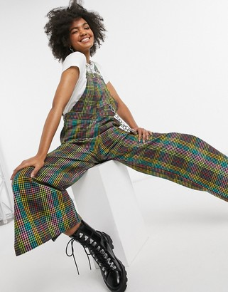 The Ragged Priest relaxed overalls with chain in bright rainbow plaid