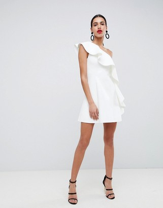 Asos Design DESIGN one shoulder ruffle a-line mini dress-White