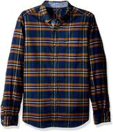 Nautica Men's Long Sleeve Cotton Flannel Twill Plaid Buttoned Down Shirt