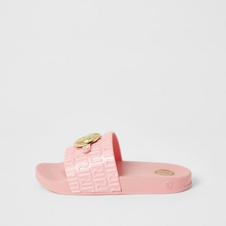 River Island Girls coral panther head RI jelly sliders