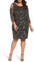 Pisarro Nights Plus Size Women's Embellished Cold Shoulder Sheath Dress