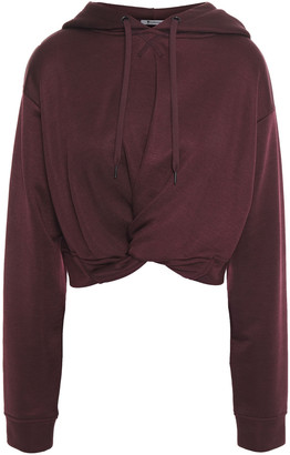 alexanderwang.t Cropped Twist-front French Terry Hoodie