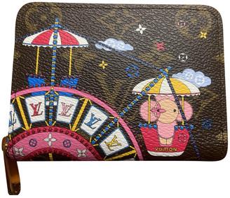 Louis Vuitton Zippy Brown Linen Purses, wallets & cases