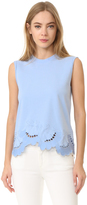 Victoria Victoria Beckham Embroidered Sleeveless Tee