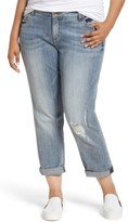 KUT from the Kloth Plus Size Women's Catherine Stretch Distressed Boyfriend Jeans