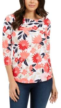 Charter Club Petite Cotton Printed Boatneck Top, Created For Macy's