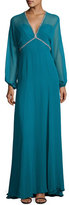 Jenny Packham Beaded-Trim Slit-Sleeve V-Neck Gown, Emerald