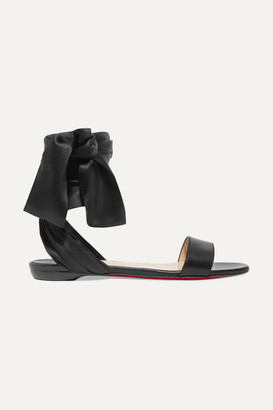 Christian Louboutin Sandale Du Desert Leather And Satin Sandals - Black