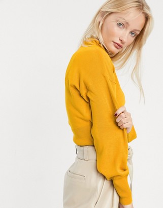 Asos Design DESIGN grown on high neck cropped jumper-Yellow