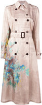 Valentino garden print trench coat - women - Silk - 38