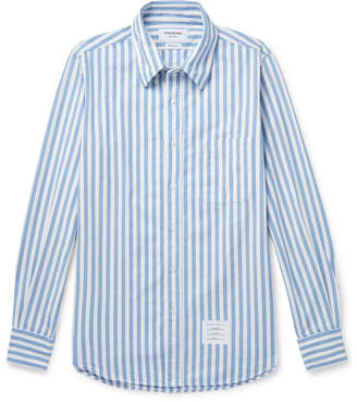 Thom Browne Button-Down Collar Striped Herringbone Cotton-Flannel Shirt