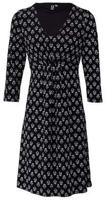 Dorothy Perkins Womens *Izabel London Black Wallpaper Print Tea Dress, Black
