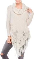Cliche Cowl Neck Pointelle Knit Tunic Sweater