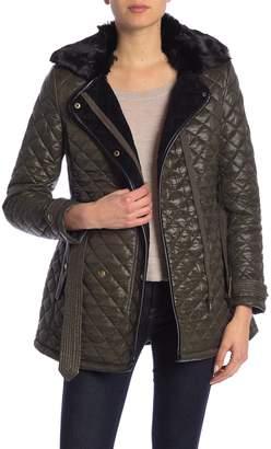 Ralph Lauren Faux Fur Collar & Lined Quilted Hoodie Coat