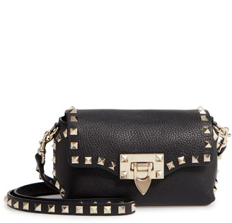Valentino Rockstud Mini Calfskin Leather Crossbody Bag