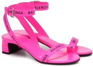 Balenciaga Allover-Logo Round leather sandals