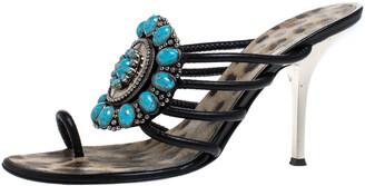 Roberto Cavalli Black Leather Turquoise Stone Embellished Slide Toe Ring Sandals Size 39