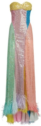 ATTICO Feather-Hem Sequinned Maxi Gown