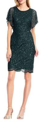 Adrianna Papell Beaded Flutter-Sleeve Cocktail Dress