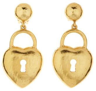 Oscar de la Renta Large Heart Padlock Clip Earrings