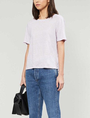Sandro Textured-back linen-blend T-shirt