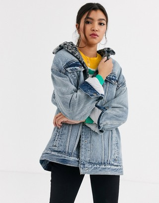Free People Wild Ones lined denim trucker jacket