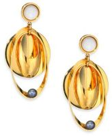 Lizzie Fortunato Tortola 6MM Peacock Pearl & Mother-Of-Pearl Cabochon Voyage Drop Earrings