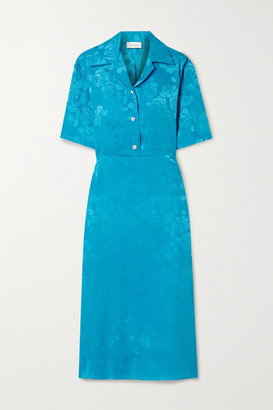 ART DEALER Cutout Floral-jacquard Midi Dress - Turquoise