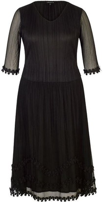 Chesca Black Mock Layer Daisy Chain Trim Crush Pleat Mesh Dress