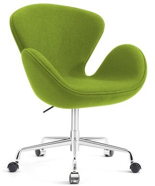 Mid-Century MODERN Orren Ellis Joann Living Room Upholstered Swivel Lounge Chair Orren Ellis Upholstery Color: Green