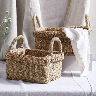 The White Company Rectangular Seagrass Baskets - Set of 2, Natural, One Size