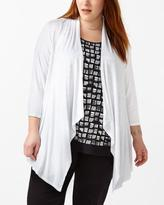 Penningtons 3/4 Sleeve Cascade Cardigan with Lace Up Back