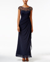 Xscape Evenings Embellished Illusion Draped Gown
