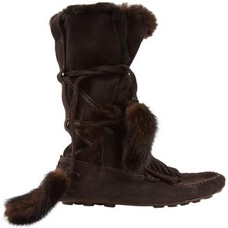 Saint Laurent Brown Mink Boots